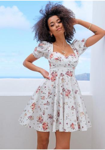 Dámske biele krátke šaty s korzetovým topom s potlačou kvetov