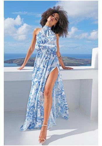 Štýlové biele maxi šaty s viazaním kolo krku, rázporkom a modrou potlačou