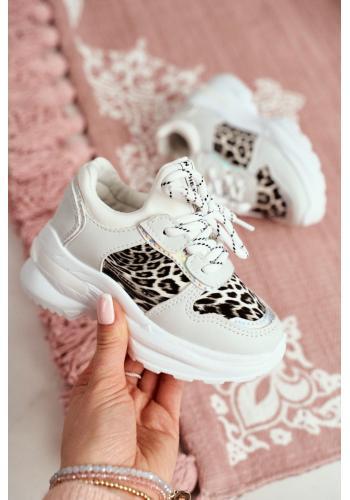 Módne detské tenisky bielej farby s leopardím vzorom