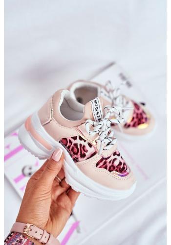 Detské módne tenisky s leopardím vzorom v ružovej farbe