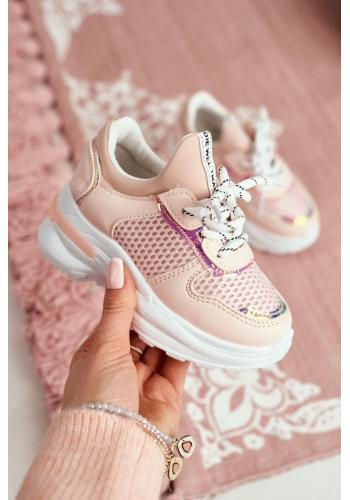 Ružové štýlové tenisky s vyvýšenou podrážkou pre deti