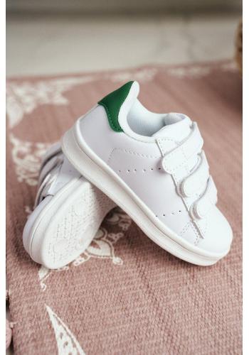 Športové detské tenisky bielej farby so suchým zipsom