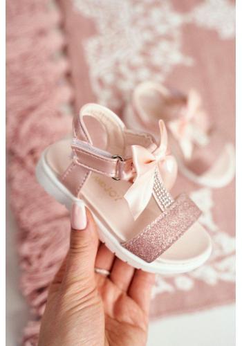 Ružovo-zlaté sandále s brokátom a mašľou pre dievčatá