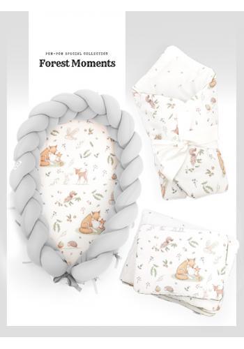Výbava pre novorodenca 4v1 - lesné zvieratá/ sivá