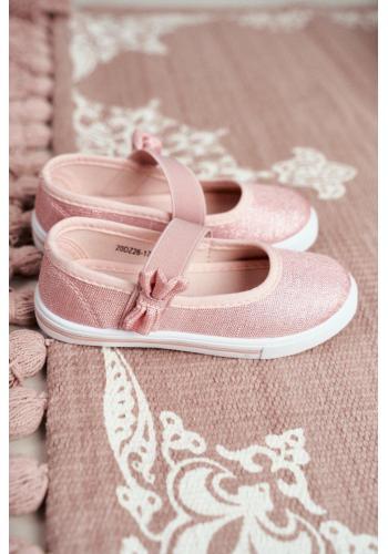 Dievčenské trblietavé balerínky s gumičkou v ružovej farbe