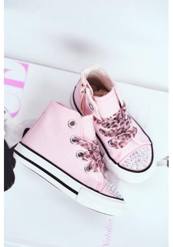 Vysoké detské tenisky ružovej farby s kamienkami
