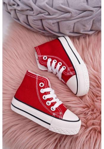 Vysoké detské tenisky červenej farby so zipsom