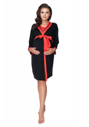 Tehotenský set nočnej košele a župana v čiernej farbe s červeným lemom
