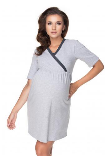 Tehotenský set nočnej košele a župana v sivej farbe s tmavosivým lemom