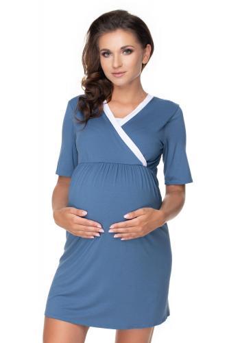 Tehotenský set nočnej košele a župana v modrej farbe s bielym lemom
