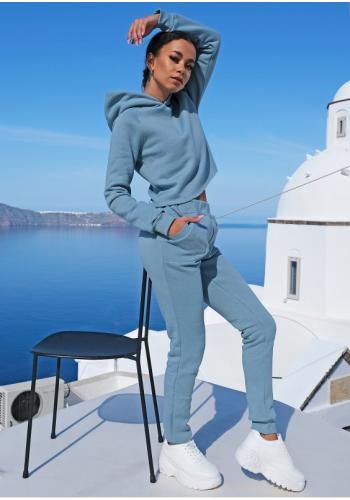 Dámske modré tepláky s vreckami