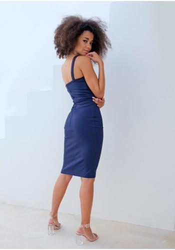 Tmavomodré elegantné otiahnuté šaty cez jedno rameno