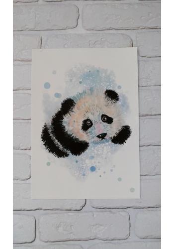 Akvarelový detský plagát s obrázkom pandy