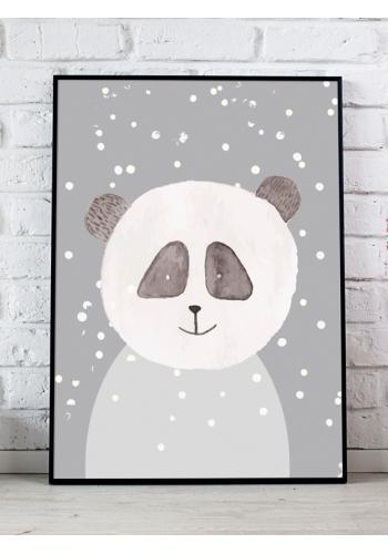 Sivý dekoračný plagát so zimným motívom pandy