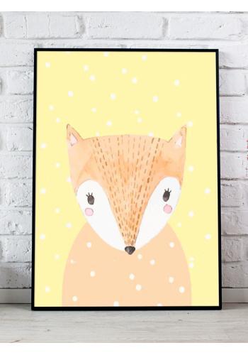 Žltý dekoračný plagát so zimným motívom líšky