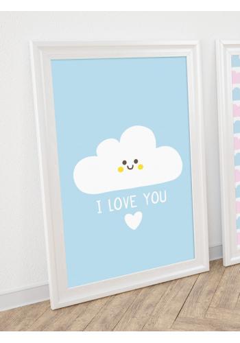 Modrý plagát na stenu s oblakom a nápisom I love you