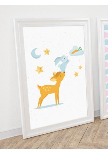 Roztomilý detský plagát s lesnými zvieratkami