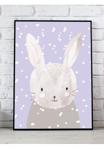Detský dekoračný plagát so zimným motívom králika