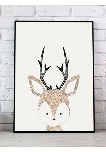 Biely plagát do izby s obrázkom jeleňa