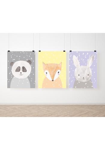 Sada detských závesných plagátov s motívom zimných zvierat