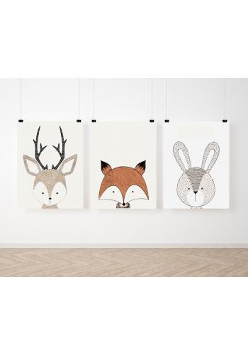 Sada dekoračných detských plagátov so zvieratkami s kolekcie ZOO