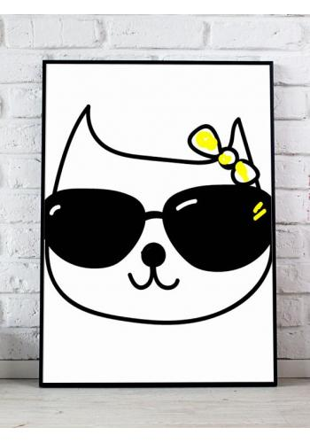 Čierno biela sada plagátov na stenu s mačičkami