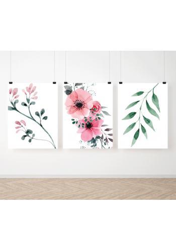 Zostava kvetinových dekoračných plagátov na stenu