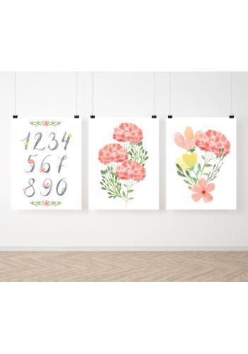 Závesná sada maľovaných plagátov s kvetinami a číslami