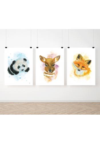 Akvarelová sada závesných plagátov s lesnými zvieratkami