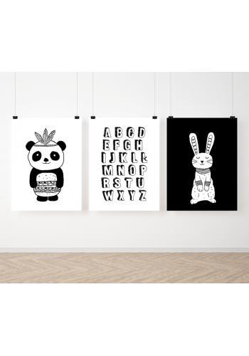 Bieločierna sada plagátov s abecedou a zvieratkami