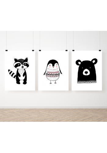 Škandinávska zostava dekoračných plagátov pre deti so zvieratkami