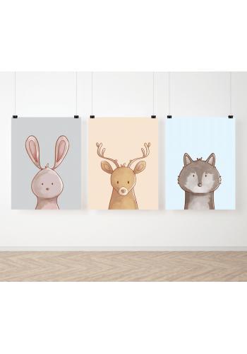Farebná sada detských plagátov so zvieratkami