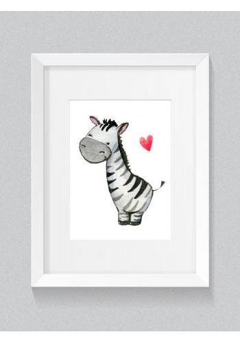 Sada detských plagátov na stenu s motívom srdca a zebry