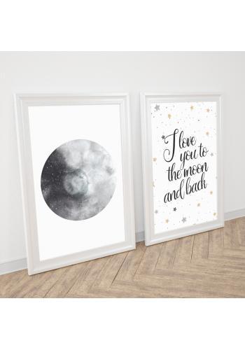Zostava dekoračných plagátov s motívom mesiaca