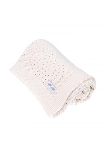 Smotanová pletená bambusová deka