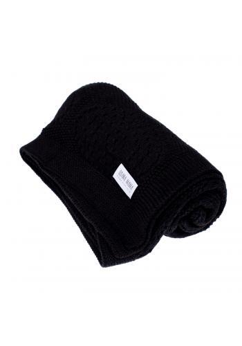 Detská čierna pletená bambusová deka