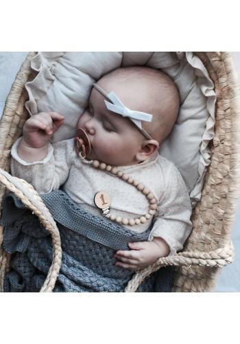 Tmavosivá pletená detská bambusová deka