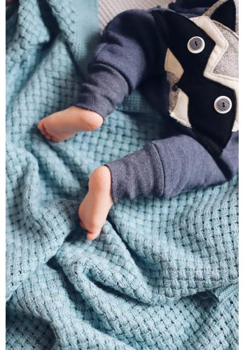 Modrá pletená detská bambusová deka