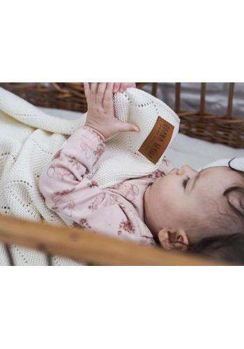 Smotanová 100% bambuová pletená deka