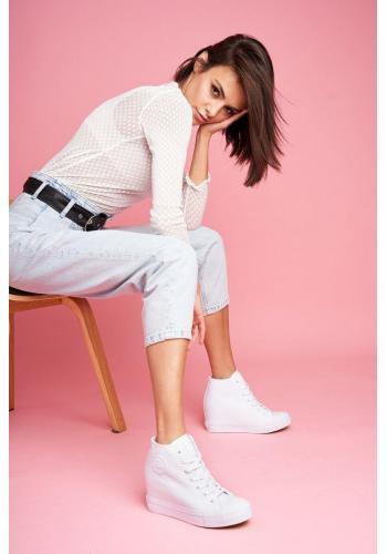 Biele plátené Sneakersy na skrytom opätku pre dámy