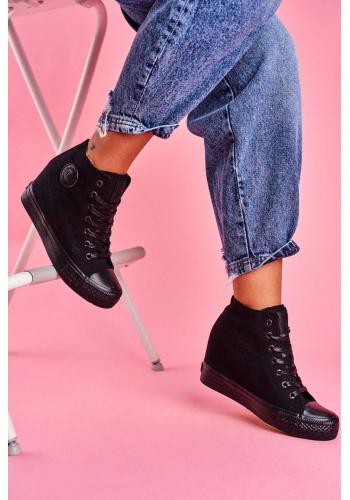 Plátené dámske Sneakersy čiernej farby na skrytom opätku