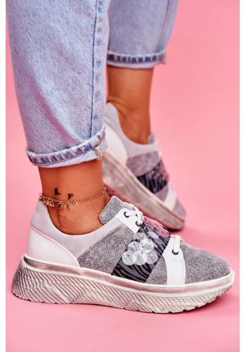Dámske kožené Sneakersy na vysokej platforme v sivej farbe