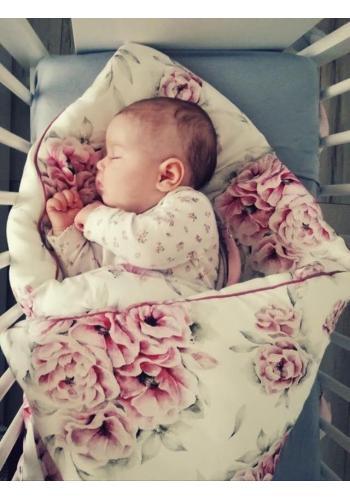Detská bambusová posteľná sada s motívom ružových kvetov