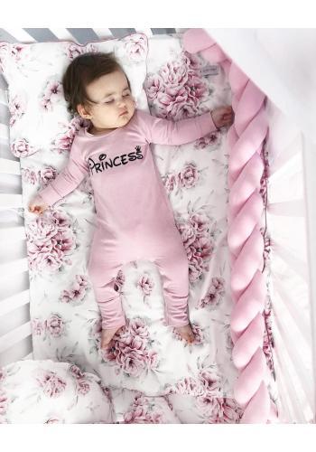 Bavlnená detská posteľná sada s výplňou - Ružové kvety