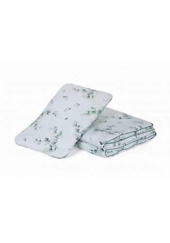 Bavlnená detská posteľná sada s výplňou - Zelené lístky