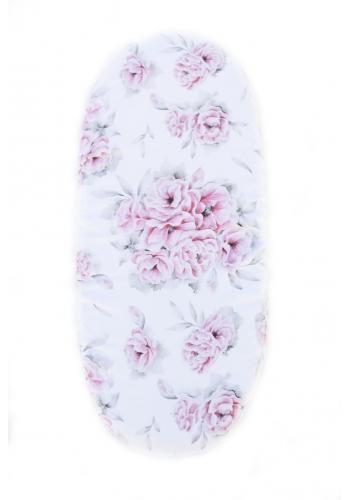 Bambusové prestieradlo na oválny matrac do kočíka s motívom ružových kvetov