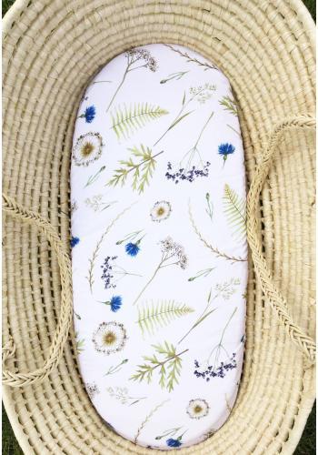 Bambusové prestieradlo na oválny matrac do kočíka s motívom lúčnych kvetov