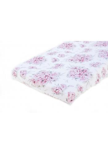 Bambusové detské prestieradlo na posteľ s motívom ružových kvetov