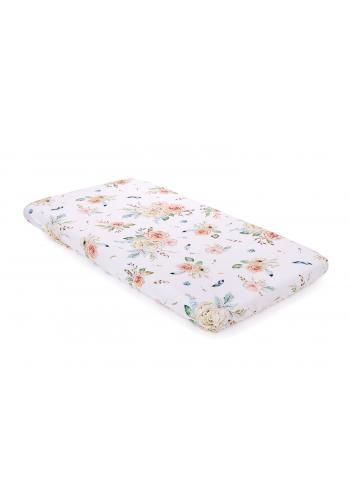 Bambusové detské prestieradlo na posteľ s motívom vintage kvetov