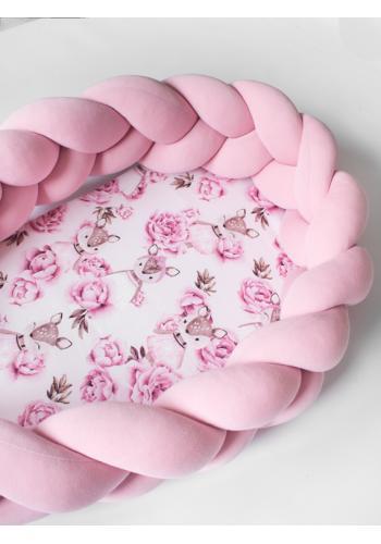 Pletené detské hniezdo PREMIUM 2 v 1 - ružové/jelene